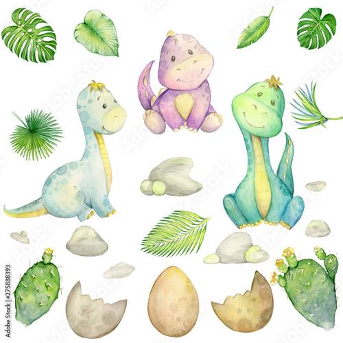 akwarela-maly-dinozaur-odosobniony