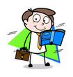 Reading Book While Travelling - Office Businessman Employee Cartoon Vector Illustration