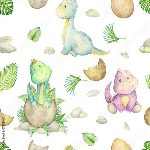 watercolo-wzor-maly-dinozaur-odosobniony