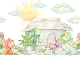 Cute dinosaurs collection watercolor illustration, hand painted isolated on a white background. pattern