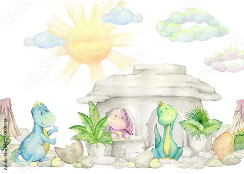 akwarela-kolekcja-uroczych-dinozaurow