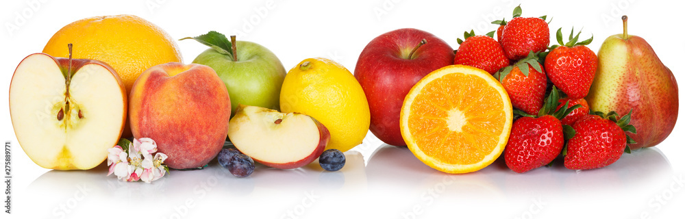 Fototapety, obrazy: Fresh fruits collection apple fruit apples lemon orange food isolated on white in a row