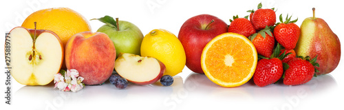 Fresh fruits collection apple fruit apples lemon orange food isolated on white in a row - 275889771