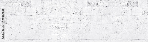 Photo White washed tuff brick wall wide texture