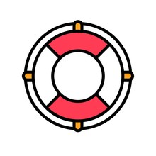Lifebuoy Vector, Summer Party Related Filled Icon