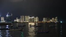 Timelapse Of Fishermen Boat At Gurney Drive Penang Sea Front With Intermittent Lightning At Night
