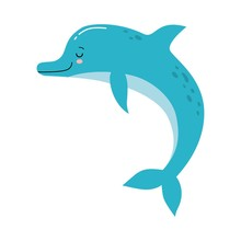 Vector Cute Illustration Of A Funny Blue Dolphin Jumping Fun On A White Background