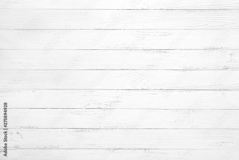 Fototapety, obrazy: Vintage white wood background - Old weathered wooden plank painted in white color.