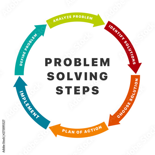 Infographic design elements with six options for problem solving steps. Arrow wheel circle style. Concept of six colorful circular arrows in flat style isolated on white background Fototapete
