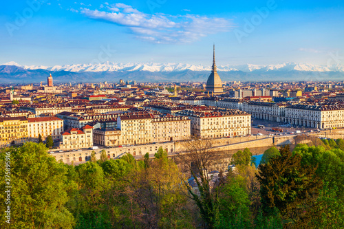 Carta da parati Turin city aerial vew, northern Italy