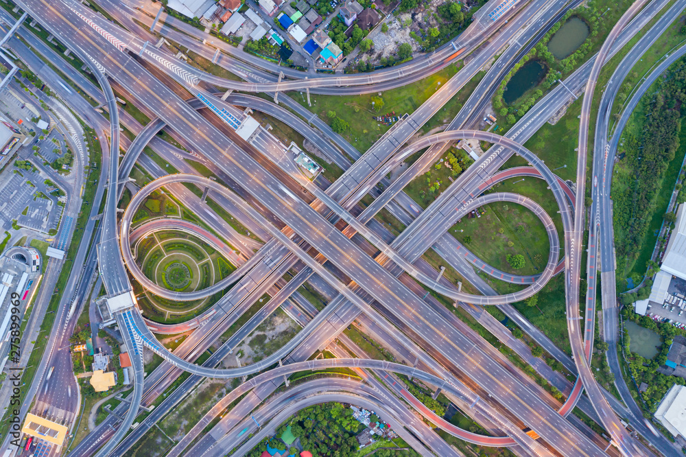 Fototapety, obrazy: Top view of Highway road junctions.