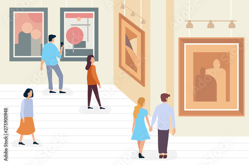 Exhibition Visitors People Walking And Viewing Modern