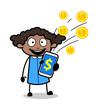 Showing Earning in Mobile - Retro Black Office Girl Cartoon Vector Illustration