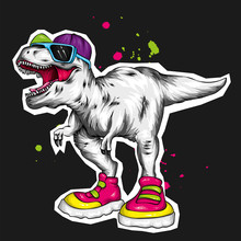 Dinosaur. Bright Vector Illustration. Cartoon Reptile. Tyrannosaur. Print On Clothes, Drawing For Postcards. Hipster.