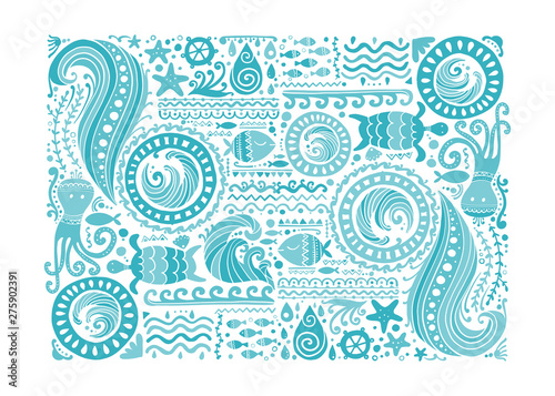 Fotomurales - Polynesian style marine background, tribal ornament for your design
