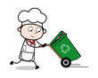 Running with Recycle bin - Cartoon Waiter Male Chef Vector Illustration
