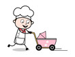 Walking with Baby Stroller - Cartoon Waiter Male Chef Vector Illustration