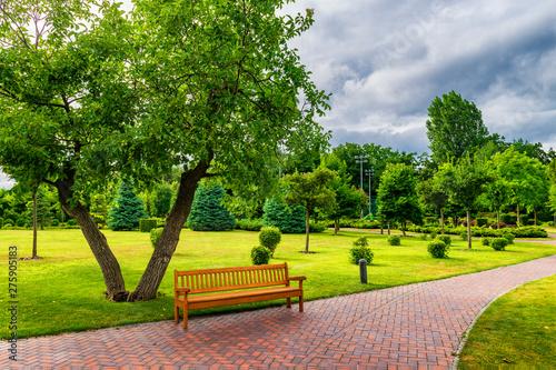 Valokuva Beautiful sunny park with bench.