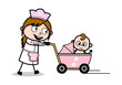 Baby Sitter with Baby in Stoller - Retro Cartoon Waitress Female Chef Vector Illustration