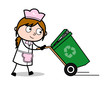 Walking with Recycle Bin - Retro Cartoon Waitress Female Chef Vector Illustration