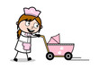 Walking with Baby Stroller - Retro Cartoon Waitress Female Chef Vector Illustration