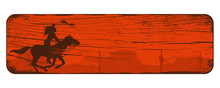 Silhouette Of Native American Indian Riding Horseback With A Spear On A Wooden Sign, Vector