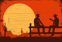Wild West Signboard, Silhouette Of Cowboys Sitting On Fence, Vector Illustration