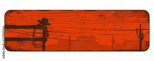 Fototapeta Wild west landscape background, Cowboy banner, Vector Illustration obraz