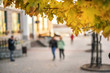 people walk along street of autumn city on sunny day, blurry, maple branch with yellow leaves in foreground close-up