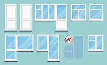 Set Of Isolated White Plastic Pvc Room Windows With Handle, Glare On Glass, Different Balcony Door And Block, Mosquito Net And Anti Mosquito Sign On Blue Background. Vector Illustration In Flat Style.