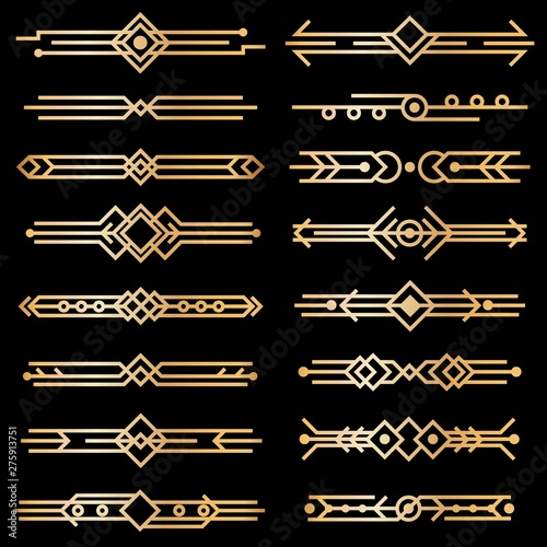 Art deco dividers. Gold deco design lines, golden book header borders. 1920s victorian vintage elements on black. Vector isolated set