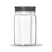 Glass Mason Jar Isolated On Wh...