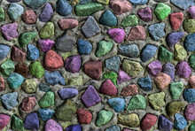 Grunge Background Stones Wall Multicolor Red Blue Lilac Print Pattern Natural