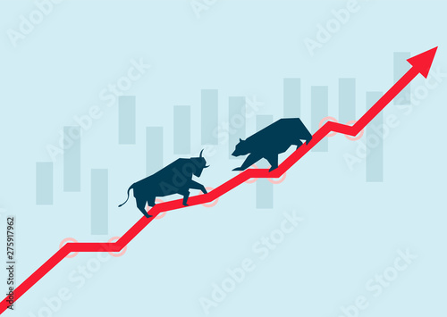Photo Financial stock market bull market and bear market, success and failure