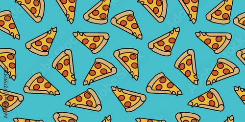 Fototapeta pizza pattern drawing background. Junk food seamless hand drawn for wrapping and decoration print. obraz