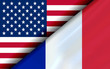 Flags of the USA and France divided diagonally