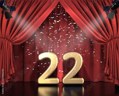 Papel de parede  22 Jahre Jubiläum auf Bühne mit rotem Vorhang