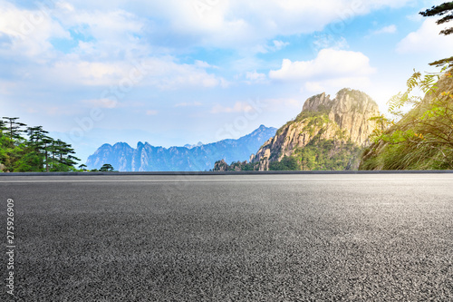 Asphalt highway and beautiful mountain nature landscape in Huangshan,Anhui,China.