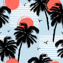 Seamless Pattern With Palm Tre...
