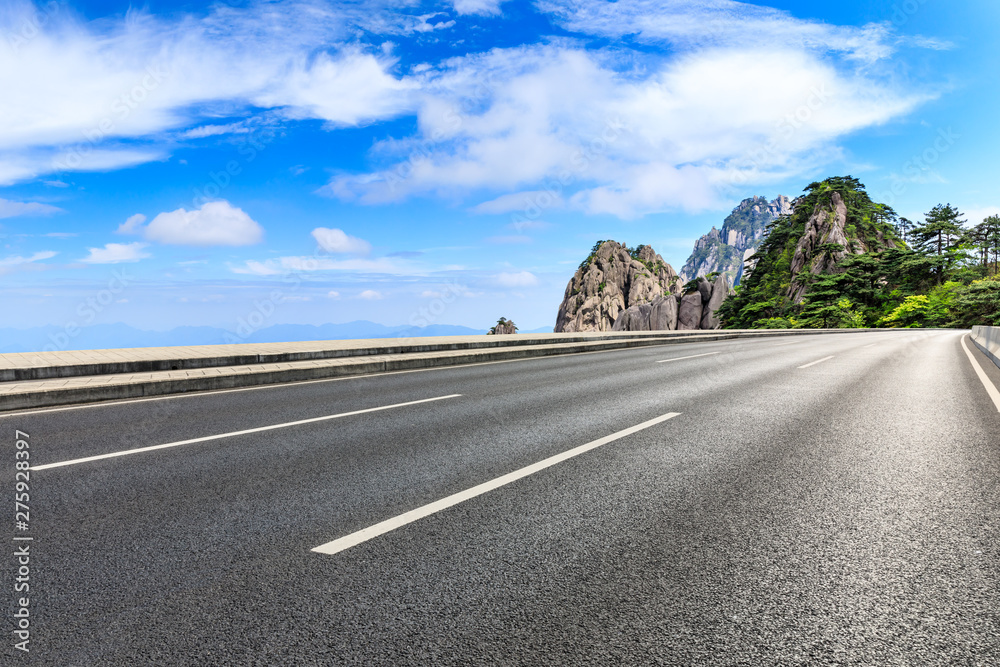 Fototapety, obrazy: Asphalt highway and beautiful mountain nature landscape in Huangshan,Anhui,China.