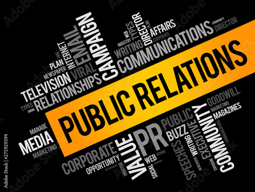 Public Relations word cloud collage, business concept background Canvas Print