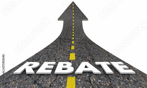 Valokuva  Rebate Refund Get Money Back Road Arrow 3d Illustration