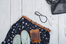 Fashion Trends - Blue Bag, Shoes And Skirt In Floral Print, Brown Belt, Purse And Pearl Jewelry