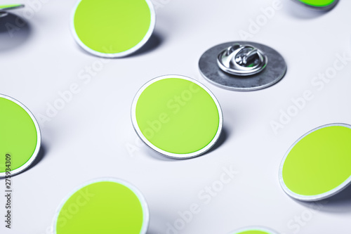 Valokuva Green blank pin buttons on white background, 3d rendering.
