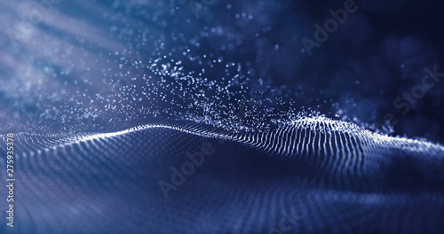 Aluminium Prints Macro photography Data technology abstract futuristic illustration. Low poly shape with connecting dots on dark background. 3D rendering. Big data visualization. Wave of particles. Futuristic blue dots background