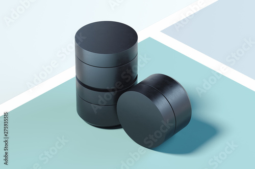 Fotografía  Set of Black plastic Bottles for cream on multicolored background