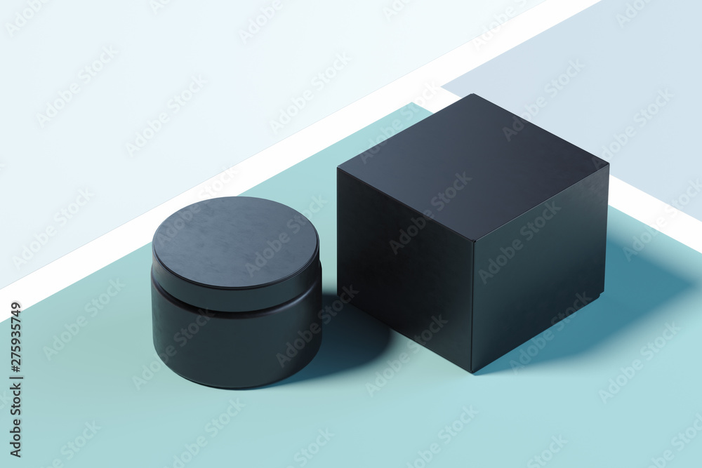 Fototapety, obrazy: Black plastic Cosmetic Bottle for cream on multicolored background. 3d rendering