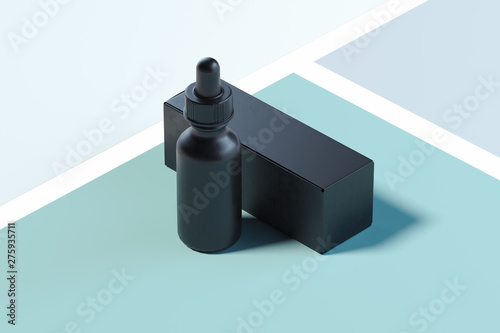 Fotomural  Cosmetic dropper on multicolored background with cardboard box