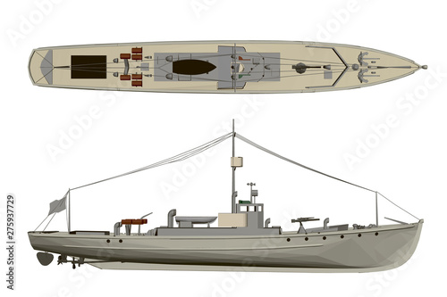 Model warship. Side view and top. 3D. Fototapete