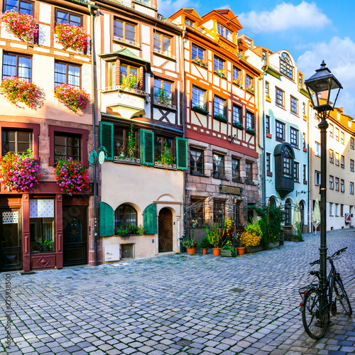 Travel in Germany - charming traditional streets of old town in Nuremberg(Nurnberg), Bavaria